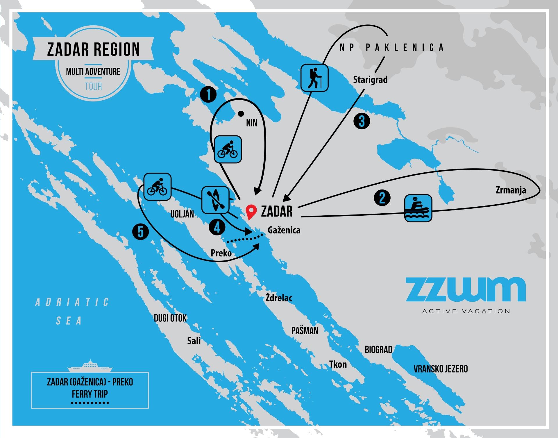 MAP OF MULTI ADVENTURE TOUR