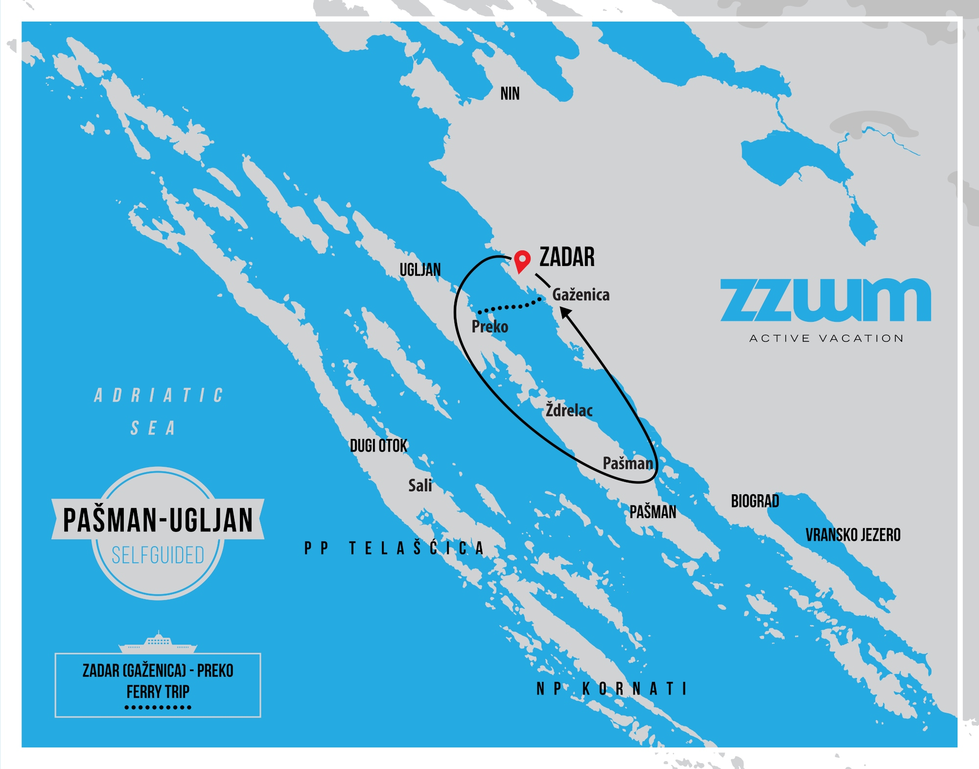 map of Pašman and Ugljan self-guided bike tour