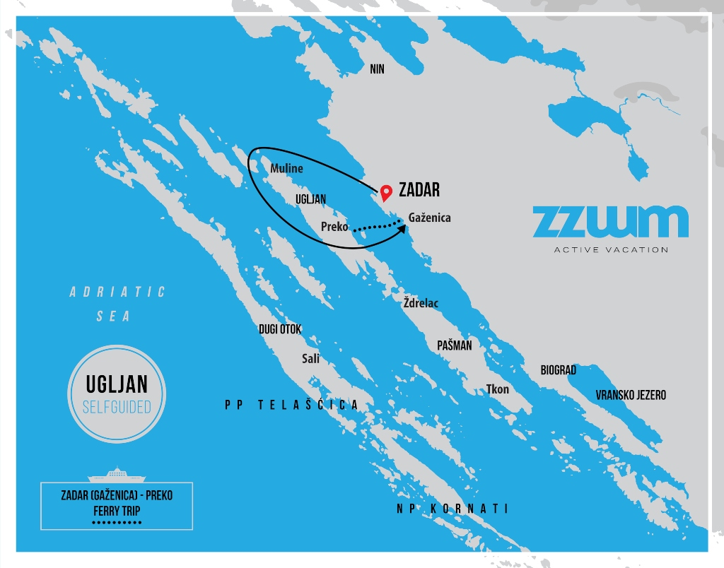 map of Ugljan self-guided bike tour