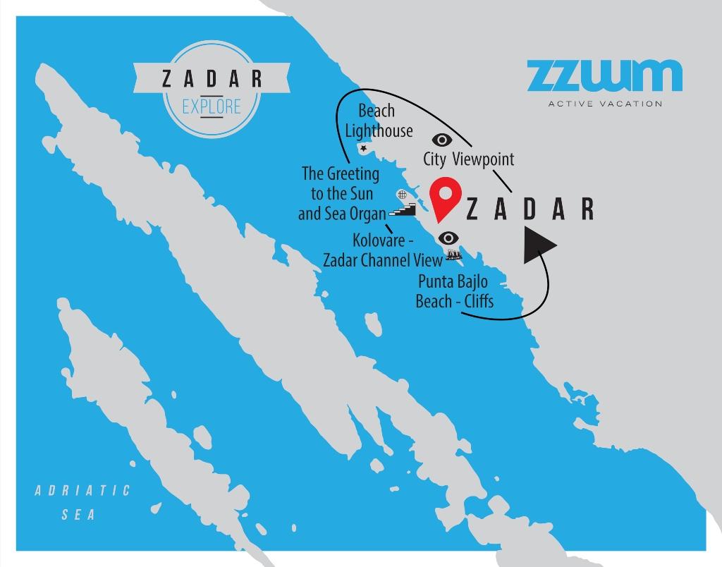map of Zadar explore bike tour