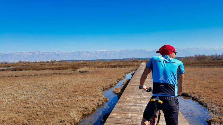 cyclist on a wooden bridge