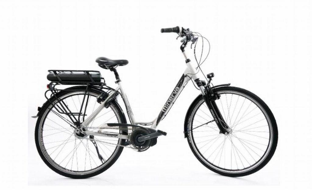 bijeli električni ženski bicikl