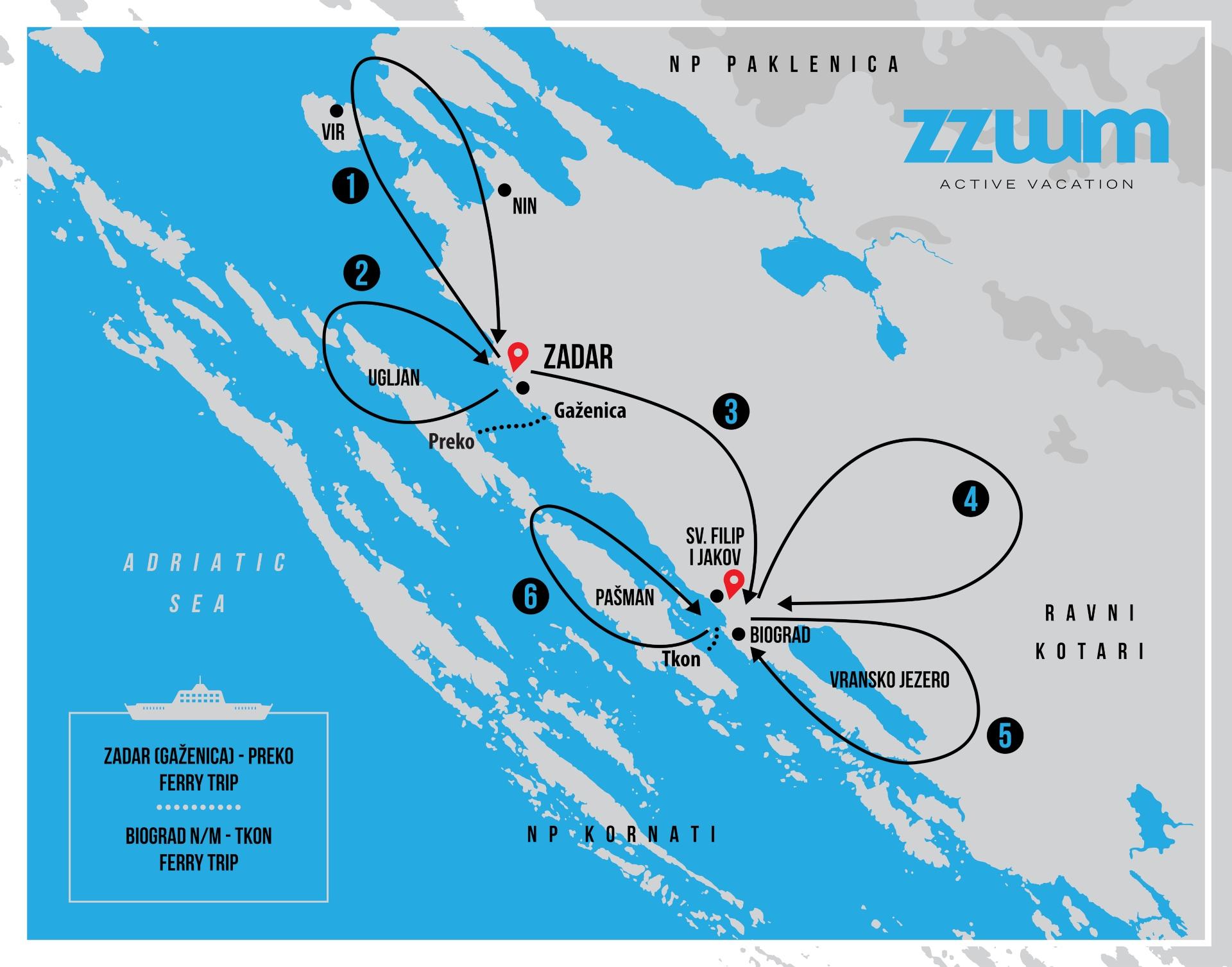 A MAP OF A BIKE TOUR ACROSS ZADAR REGION