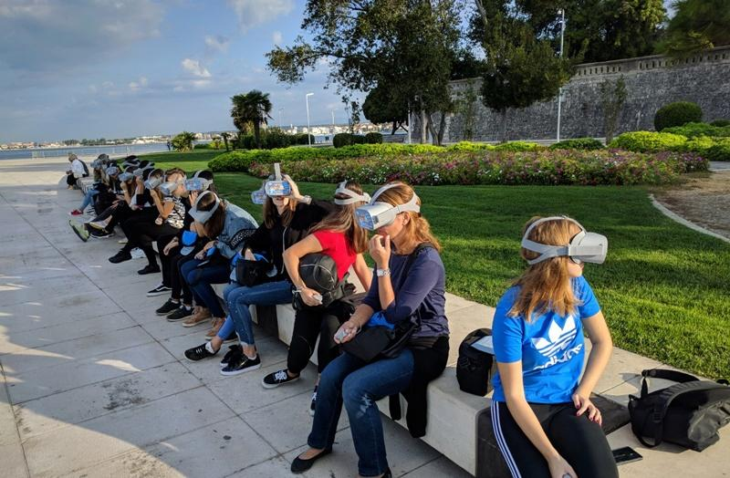 Group of people at Zadar sea promenade on Zadar Virtual Tour