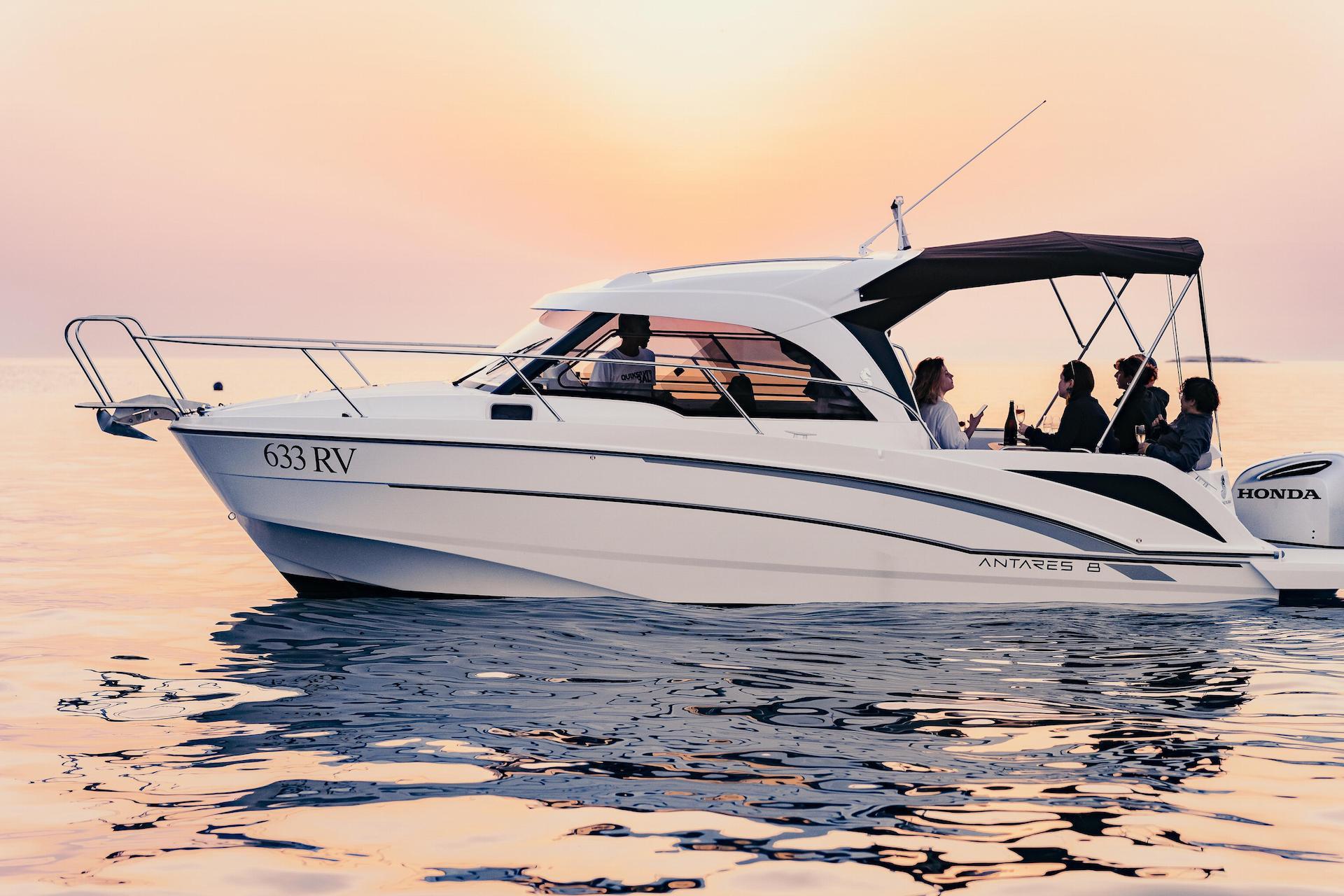 Sunset on speedboat