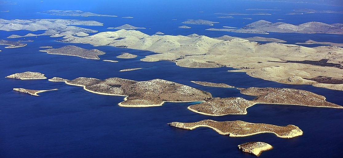 Aerial view of Kornati islands, Croatia