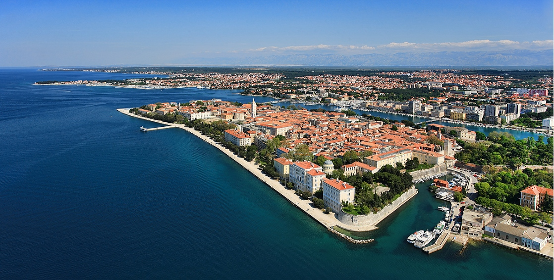 Aerial view on Zadar historical centre