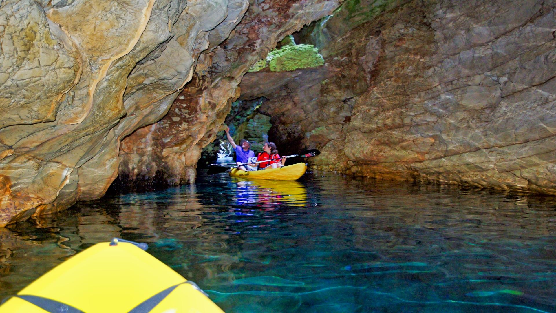 A man and a woman in sea kayak - active vacation in Croatia